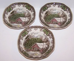 """Set Of 3 Johnson Brothers Friendly Village Covered Bridge 6 1/4"""" Cereal Bowls - $24.49"""