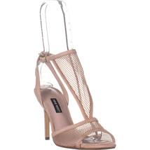 Nine West Manchon Stiletto Heel Sandals, Natural Multi Fabric, 7.5 US - $38.39