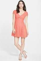 Jessica Simpson Peach Lace Dress Cutout Front Keyhole Back Lined M New - $37.99