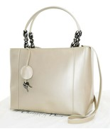 Auth CHRISTIAN DIOR Maris Pearl Beige Patent Leather Hand Shoulder Bag #... - $373.50