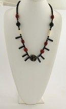 ESTATE Jewelry 70'S CINNABAR CARVED BOVINE BONE & HORN STATEMENT NECKLAC... - $41.25
