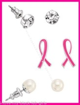 Breast Cancer Crusade 3 Piece Earring Set Pierced Silvertone NEW Boxed (2015) - $11.83
