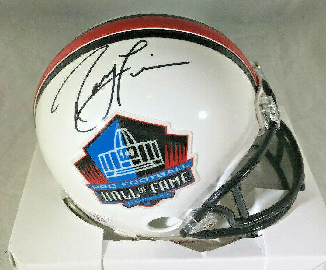 RAY LEWIS / NFL HALL OF FAME / AUTOGRAPHED HALL OF FAME LOGO MINI HELMET / COA