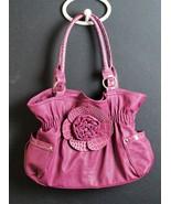 Womens Pinkish Plum Color Flower Accent Satchel Handbag Shoulder Bag  - $22.16