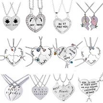 Set of 2/3/4 Best Friends Necklace Couples Paired Necklaces Pendants Uni... - $10.67