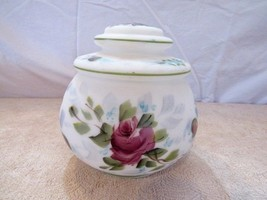 "7"" Antique Decorative Floral Print Glass Bowl with lid - $37.40"