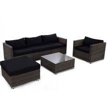 6 pcs Patio Rattan Wicker Sectional Furniture Set w/ Black Cushion - $675.39