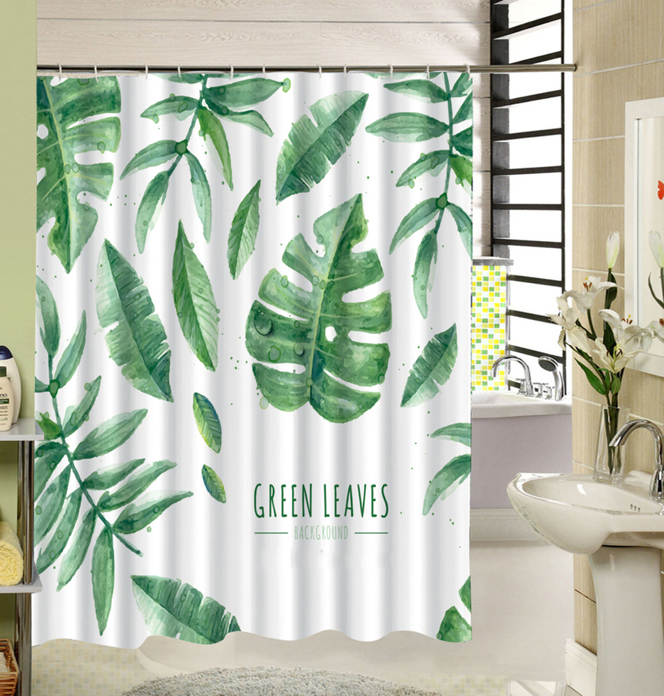 Cute Fabric Bath Curtain Polyester Waterproof 3d Printing Tree Shower Curtain in image 2