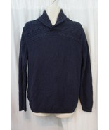 Tasso Elba Sweater Sz M Blue Marl Cable Knit Ribbed Collar Thick Knit Pu... - $35.17