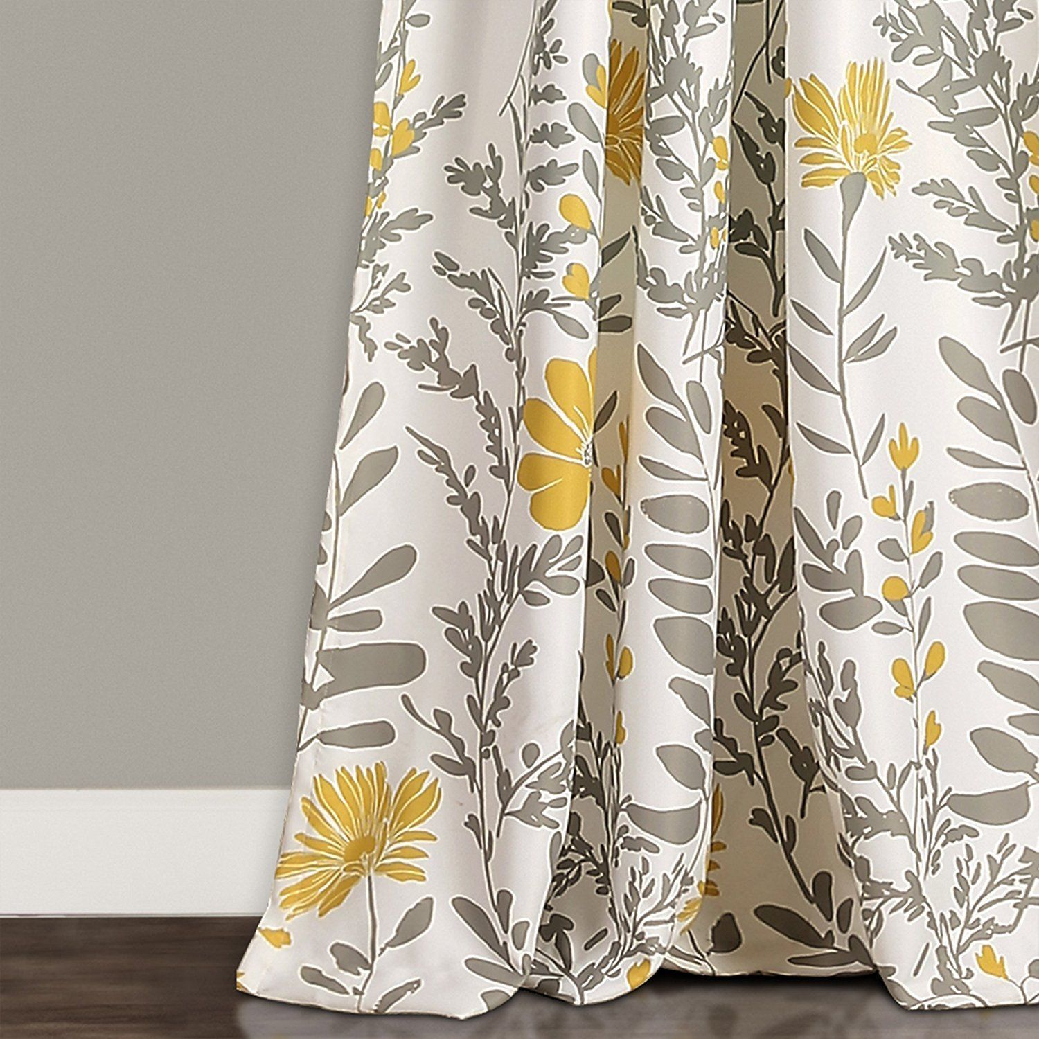 Set 2 Yellow Gray White Spring Floral Curtains Panels