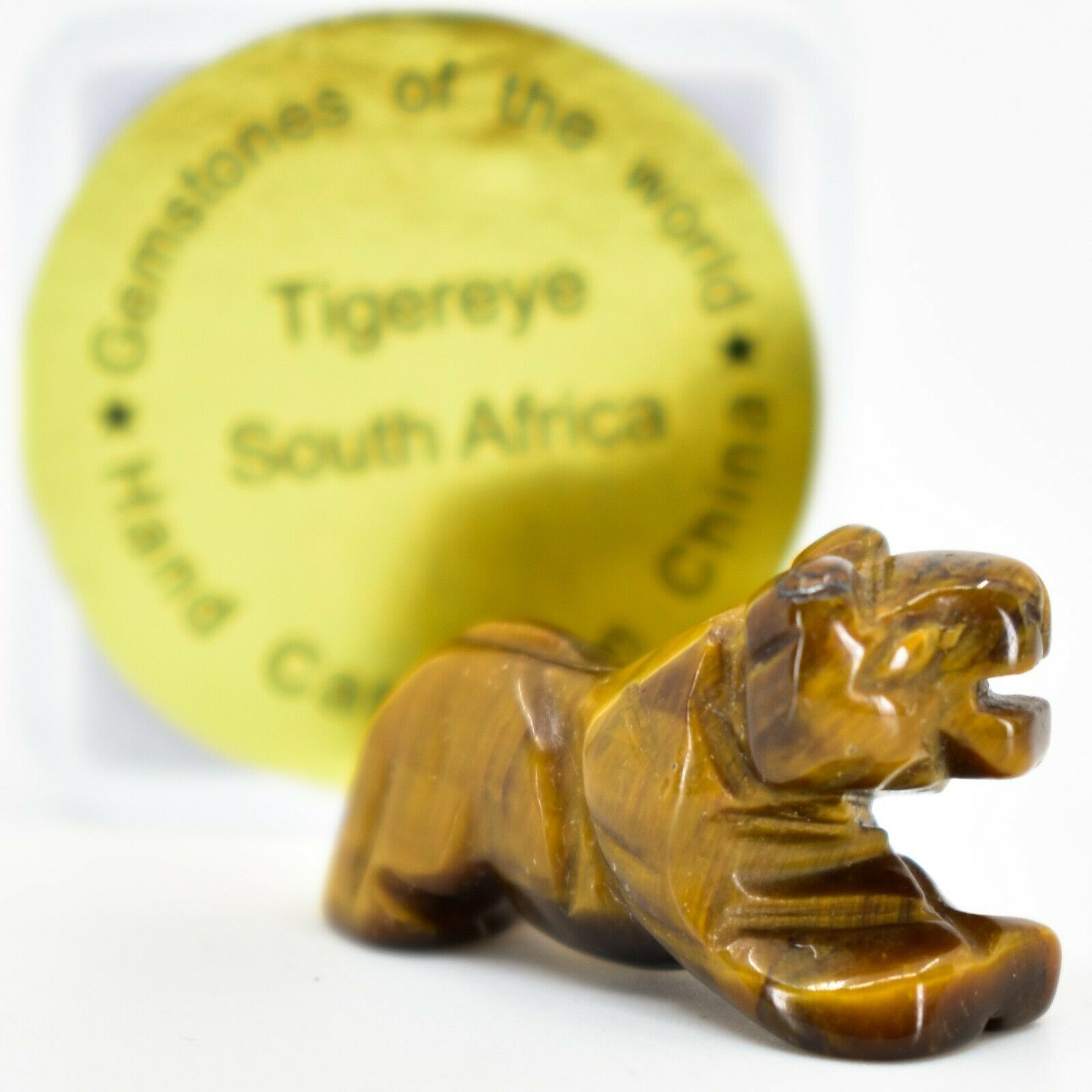 Tiger's Eye Gemstone Tiny Miniature Lion Figurine Hand Carved in China