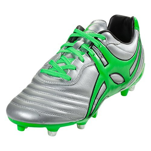 Gilbert Jink Pro 6 Stud Rugby Boot, Silver, US 11