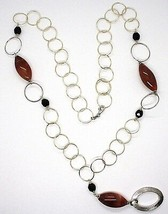 Necklace Silver 925, Jasper Oval, Length 80 cm, Circles Large, Pendant image 2