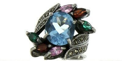 Vintage Ladies Size 6.5 Sterling Silver Multi Stone Fashion Ring No. 2145