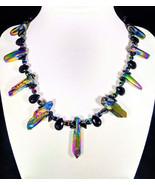 "17"" genuine luster quartz, black jasper & artglass necklace - $85.00"