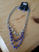 1149 Silver W/ Purple Beads Necklace Set ( New) - $8.58