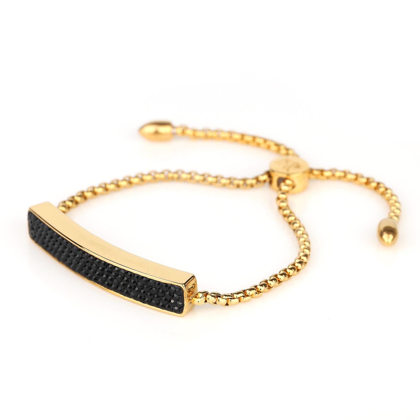 UNITED ELEGANCE Gold Tone Bolo Bar Bracelet With Black Swarovski Style Crystals