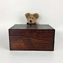 Wood Recipe Card Box Amish Wooden Storage Dove Tail Kitchen Decor Vintag... - $49.45