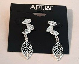 APT 9 SILVER TONE PIERCED  LEAF DANGLE EARRINGS  - $7.99