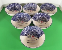 Thomson Pottery SNOWMAN Soup Cereal Bowl (s) LOT OF 6 Blue Speckles Chri... - $26.68