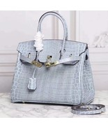 30 cm Crocodile Embossed Italian Leather Lock and Key Satchel Celebrity ... - $151.75
