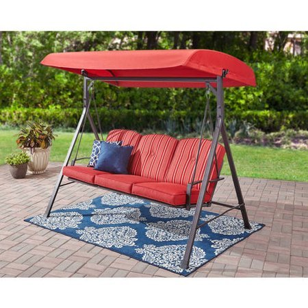 Patio/Deck/Garden Canopy Swings w/Cushions Color Red image 2