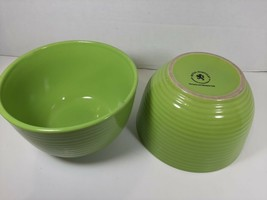 Royal Norfolk Set of 2 Lime Green Ribbed Soup Bowls Cereal Bowls - $18.99