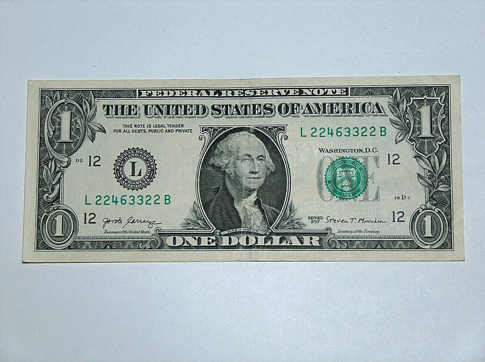 2017 $1 Dollar Bill US Bank Note Pairs 2s 3s, 2 Bookends 22463322 Fancy Serial