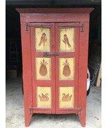 1930s Pennsylvania Dutch Handmade Carved 2 Door Cabinet Original Red Paint - $891.00