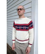 Mens Ski Sweater Winter Pullover 70s Acrylic Stripe Ivory M - $22.00