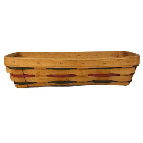 Longaberger Cracker Basket Woven Traditions 1993 Red Green Blue Thin Slats VTG - $19.75