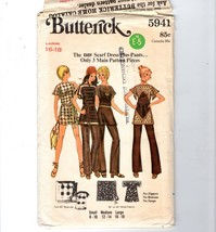 70s Butterick Boho Hippie Gypsy Easy Scarf Mini Dress Top Pants 5941 16-18 - $12.38