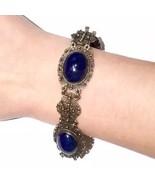 European Cannetille Art Nouveau Bezel set Lapis Lazuli 800 Silver Bracelet - $308.75