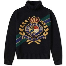 Polo Ralph Lauren Men's Intarsia Crest Wool Turtleneck Sweater Black Siz... - $252.40