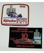 Lot of 2 VALVOLINE Patches 1990 & 1991 Detroit Grand Prix Car Racing Mic... - $14.99