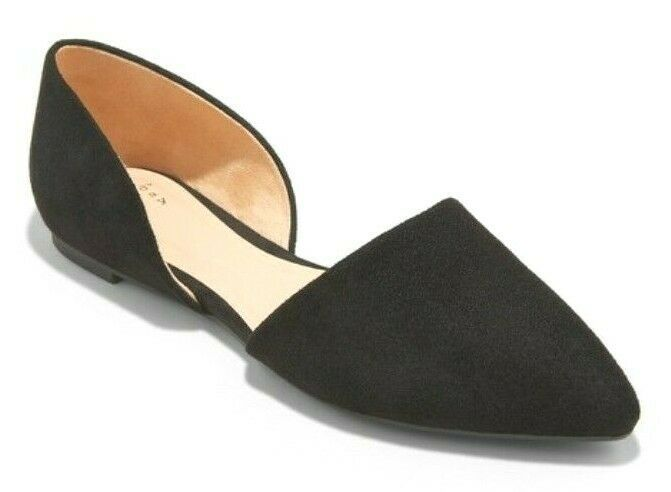 A New Day Women's Rebecca Black Microsuede Wide Pointed Ballet Flats 6.5 US NEW