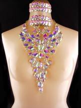 "HUGE DRAG QUEEN Statement bib AB rhinestone Necklace  3"" earrings & 2 br... - $175.00"