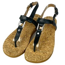UGG Aleigh T-Strap Sandals Womens 6 Leather Upper Cork Footbed Black New - $68.31