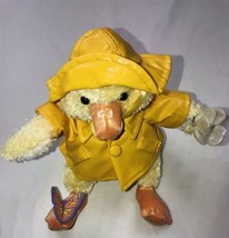 "COMMONWEALTH Yellow Rain Jacket Duck Plush Lavender Butterfly 7"" Stuffed Animal - $24.74"