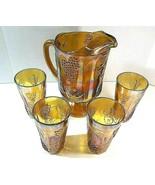 Imperial Marigold Orange Iridescent Carnival Glass Pitcher Grape 4 Glasses VTG - $59.99