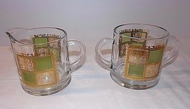CULVER PRADO Set Gold Green Creamer With Open Sugar Vintage RARE Mid Cen... - $37.57