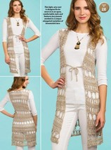 Z629 Crochet PATTERN ONLY Long Bombay Vest Pattern - $6.50