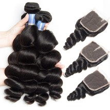 Malaysian Hair Bundles with Closure Remy Human Hair Lace Closure and  3 ... - $361.50