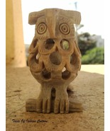 Handcarved Owl Intricate Sculpture Soapstone figurine inside baby Owl In... - $14.84