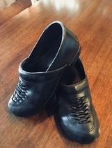 DANSKO Black Leather Clogs Mules Weave Design Shoes Size EU 41 US 9.5 #175 - $16.77