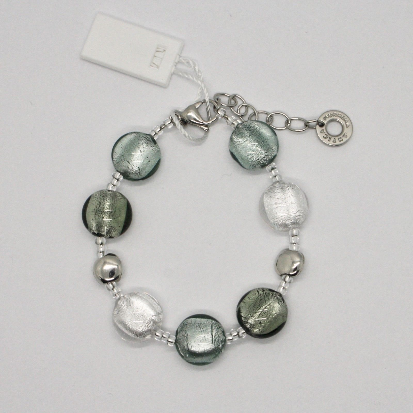 BRACELET ANTICA MURRINA VENEZIA WITH MURANO GLASS SILVER GREY BR297A01