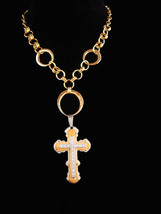 Dramatic Large Cross Necklace - Vintage rhinestone pendant - unisex 18 i... - $95.00