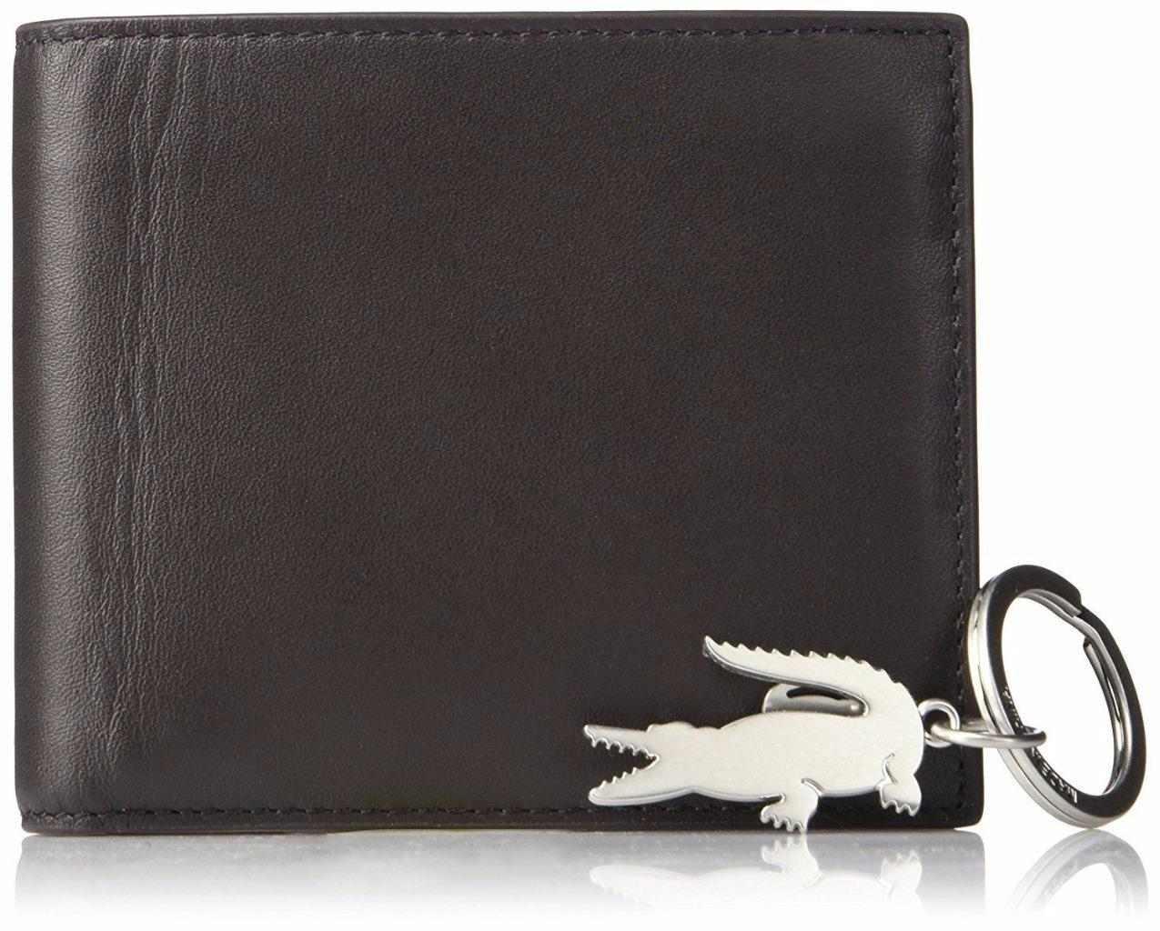 Lacoste Men's Billfold Coin Wallet Crocodile Key Ring Gift Set Brown NH2072FG