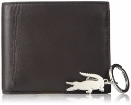 Lacoste Men's Billfold Coin Wallet Crocodile Key Ring Gift Set Brown NH2072FG image 1