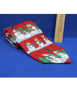 Hallmark Mens Neck Yule Tie Red Snowman Snowmen Christmas Embossed Candy... - $7.91